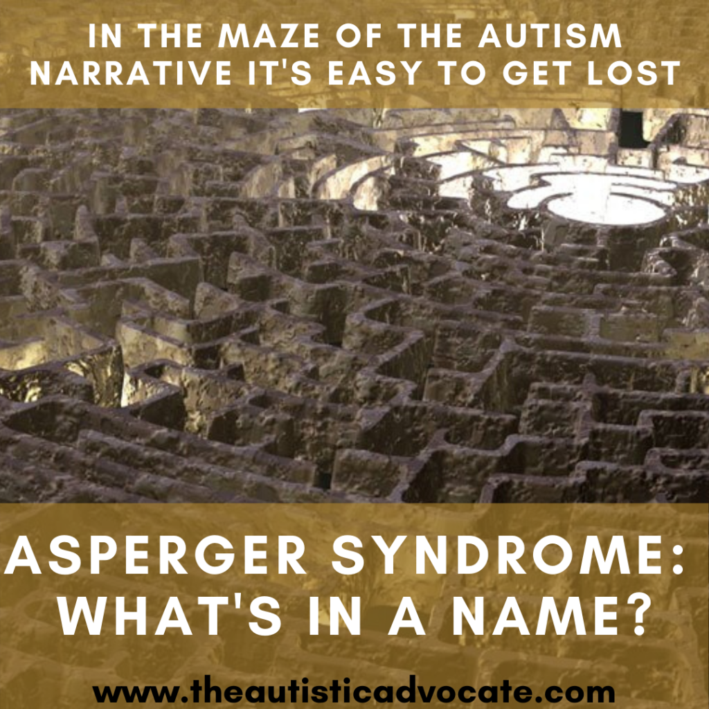 An image of a labyrynth with the text 'In the maze of the autism narrative it's easy to get lost' and 'Asperger Syndrome: What's in a name' overlaid over the top in white)
