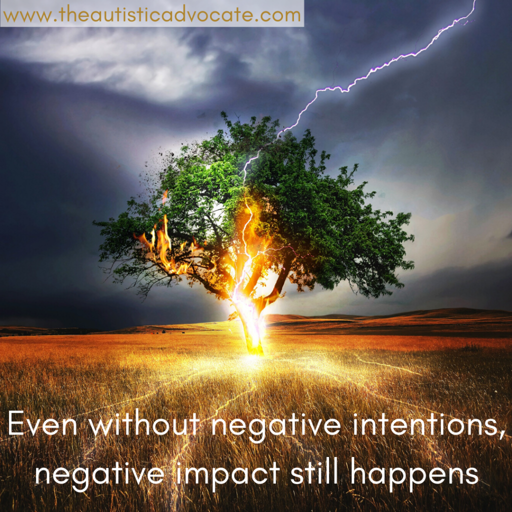 "An image of a tree in a field being struck by lightning.  text reads: ""Even without negative intentions, negative impact still happens"""