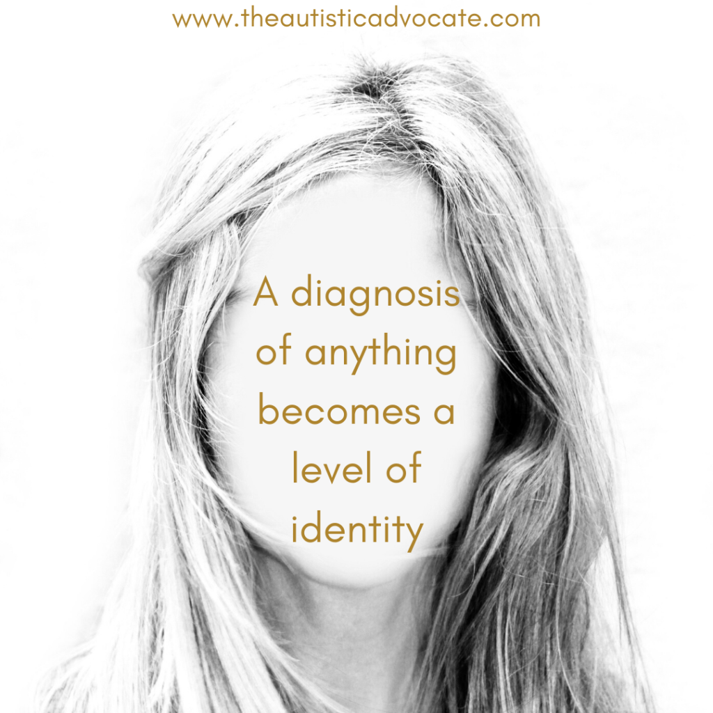 "An image of a head with long straight hair and a blank face. Text is positioned where the face should be and reads ""A diagnosis of anything becomes a level of identity."""