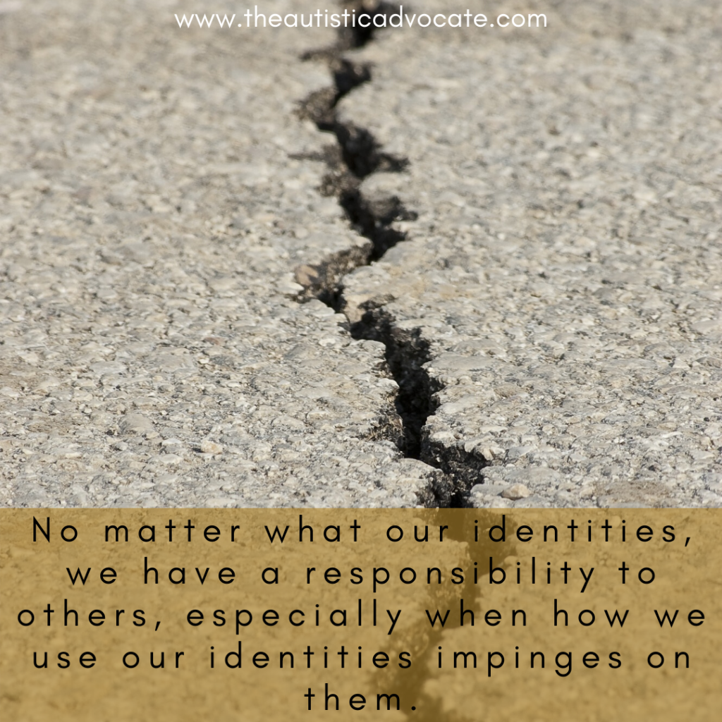 "An image of a crack running through the ground.  Text reads: ""No matter what our identities, we have a responsibility to others, especially when how we use our identity impinges on them."")"