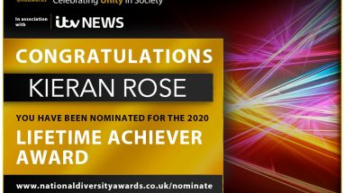 Poster stating that Kieran Rose has been nominated for A lifetime achiever award for the National Diversity Awards 2020